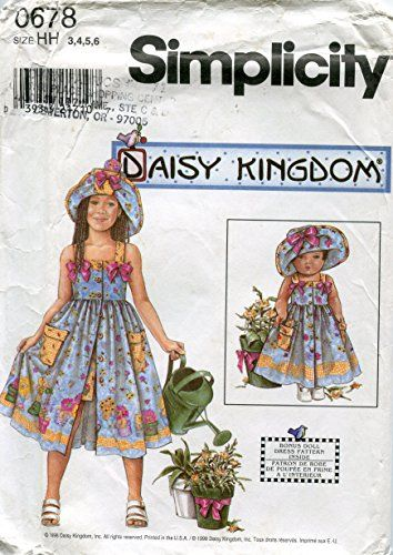 "Simplicity Daisy Kingdom Pattern 0678 Girls' Sundress, Shorts and Hat, Matching 18"" Doll Clothes"