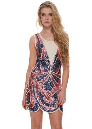 Designer Desirables Pink & Blue Sequinned Flapper Party Dress