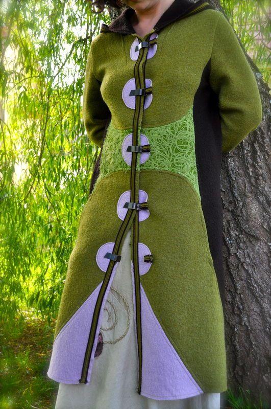 Manteau tricolore en laine bouillie