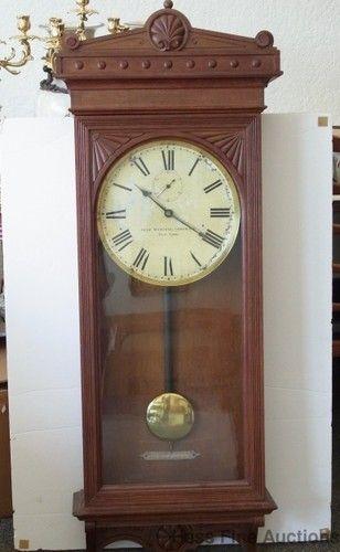 Antique Self Winding Clock Co Wall Regulator Clock ...