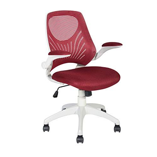 Homylin Office Chair Foldable Armrest Red Mesh Swivel Task Chair With Mesh Padded Seat Mesh Office Chair Furniture Office Chair