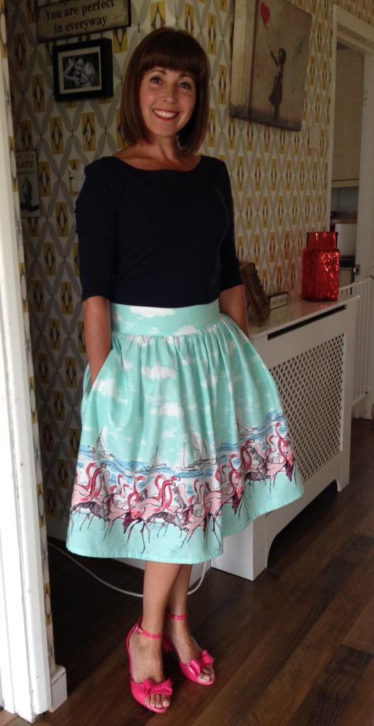 Jane's flamingo print Clemence skirt