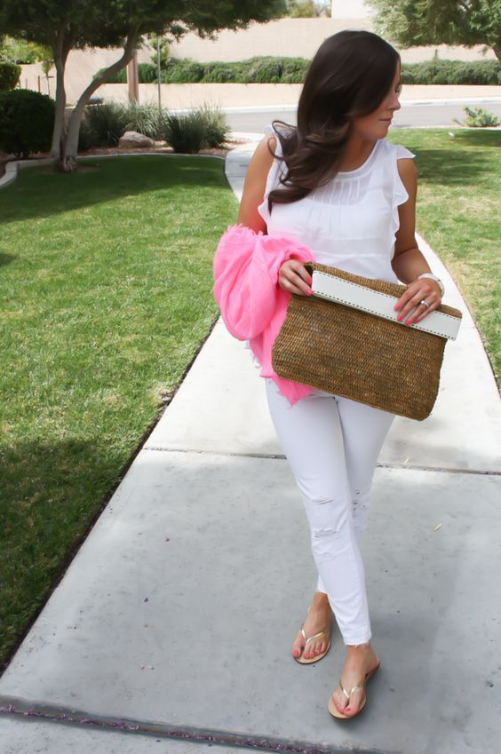 white on white with a pop of pink. love the detail on the blouse. want slight distressed white skinnies. love whole outfit and clutch!