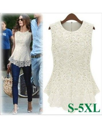 Plus Size Casual Dresses Sleeveless Shirt sexy Lace Tops