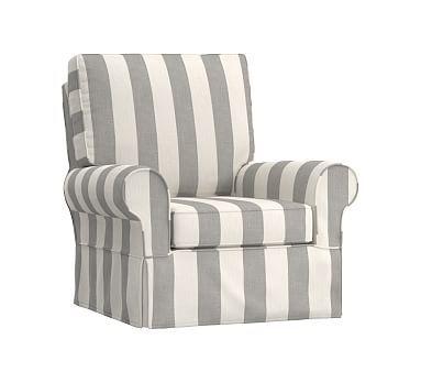 Comfort Swivel Rocker Slipcover Only, Premium Performance Awning Stripe Gray
