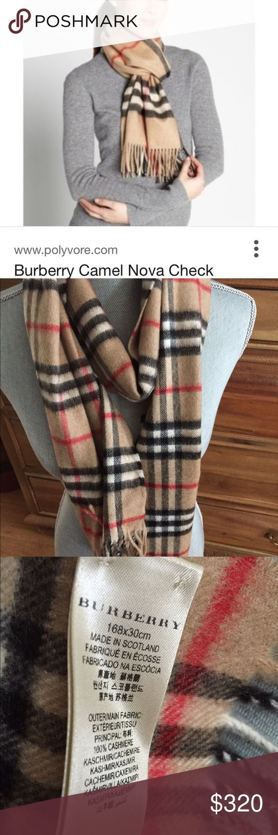 Burberry Cashmere Scarf Burberry cashmere icon check scarf. Camel check with black, white and red plaid. 30x166 cm. excellent condition. Burberry Accessories Scarves & Wraps