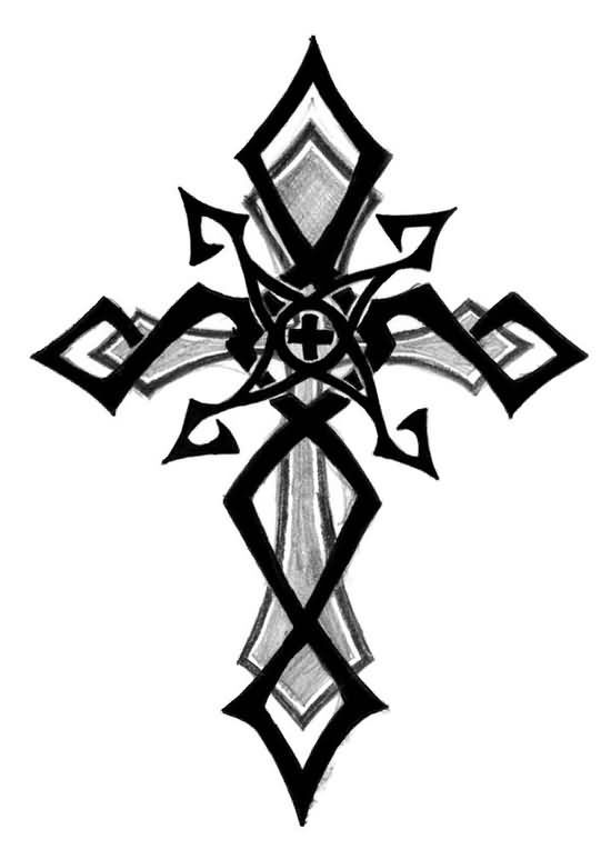 Black Tribal And Cross Tattoo Design