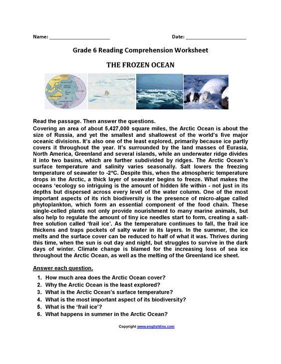 The Frozen Ocean Br Sixth Grade Reading Worksheets Reading Comprehension Worksheets Comprehension Worksheets Reading Worksheets