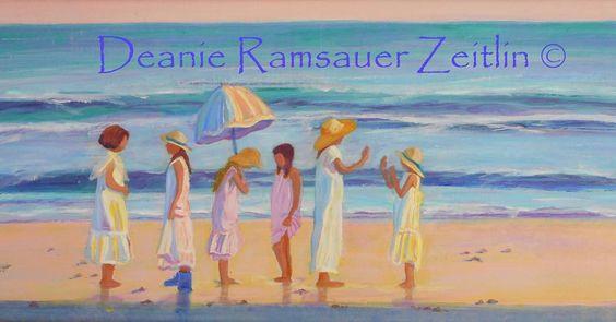 """Friends at Sea"" - 14"" x 24"" #art #artist #painting #painter #sea #girls #acrylic #acrylicpainting  #arts.gallery #arts_help #arts_spotlight #worldofartists #arts_gallery #art.magazine #talentedpeopleinc by deanietheartist"