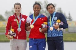 July 14 - Canoeing Flat - Women - K1 200m.  Michelle Russell of Canada - Silver. Yusmari Mengana of Cuba - Gold. Sabrina Ameghino of Argentina - Bronze. 2015 Pan Am Games at Welland Pan Am Flatwater Centre.