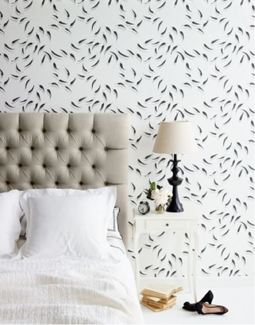 nightstand blends into wall | upholstered headboard | wallpaper | #bedroom #windows #headboard