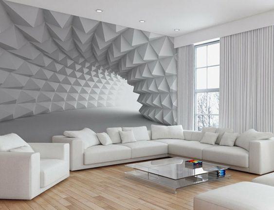 Wohnzimmerwand modern ~ Kleines wohnzimmer modern gestalten mit perspektive fototapete in