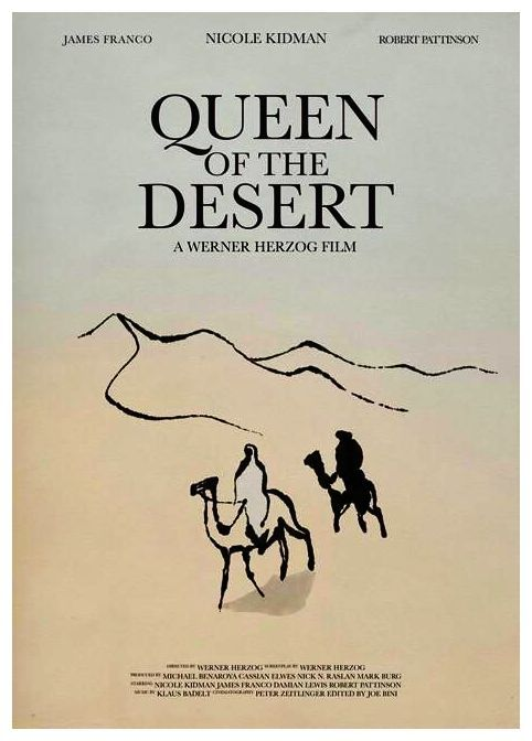 Official Queen of the Desert poster. Note Rob has star billing, name above the title, even though he has a small role. So far a majority of the reviews say he's the highlight of the film.