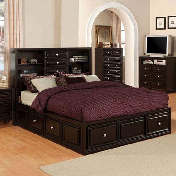 Best Espresso Wood Platform Captain Bed Drawers Queen King 400 x 300
