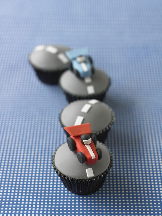 Racing Car Cupcakes to go with the Racetrack Cake!
