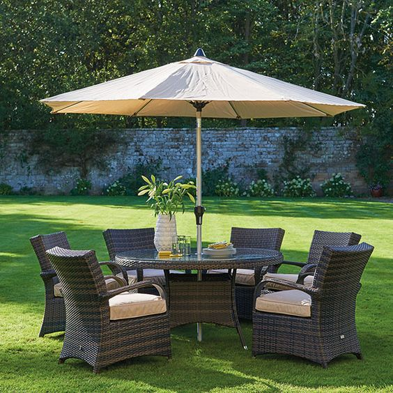 clovelly round table 6 chairs parasol garden furniture outdoor furniture barker furniture