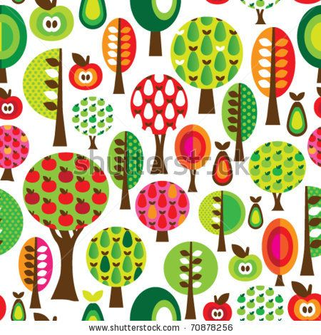 stock vector : Seamless cute tree apple and pear pattern in vector