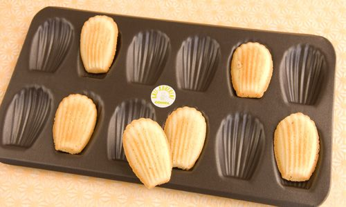 Warm madeleines from the oven are the best. We keep a couple of these trays on hand.