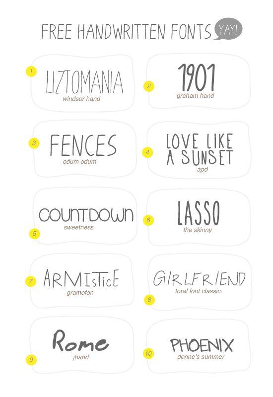Free handwritten fonts, can't beat it  I like FENCES and ROME  H E L L O : 10 Free Handwritten Fonts