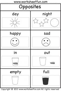 math worksheet : opposites  free printable preschool and kindergarten worksheets  : Free Printable Worksheets For Preschool And Kindergarten