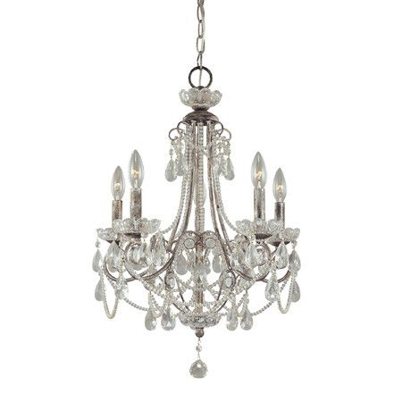 Add sparkle to any room with the Minka Lavery 5 Light Mini Chandelier. The chandelier is built from metal and features an elegant silver finish. It can ho...