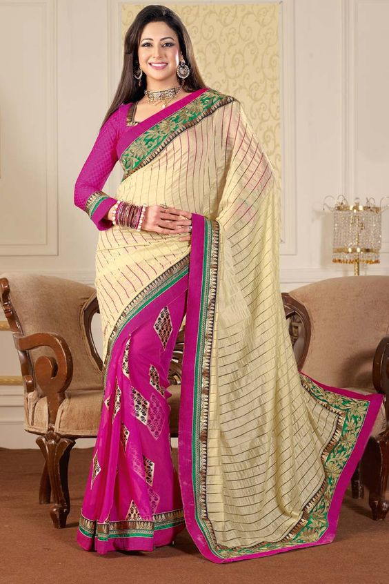 Buy Cream Art Silk Latest Designer Saree Online in low price at Variation. Huge collection of Designer Sarees for Wedding. #designer #designersarees #sarees #onlineshopping #latest #lowprice #variation. To see more - https://www.variation.in/collections/designer-sarees.