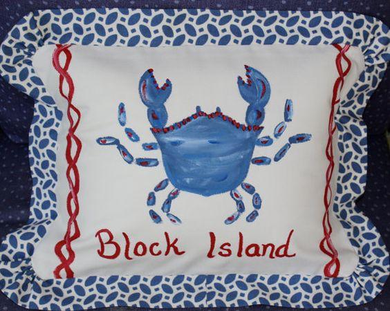 SALE Block Island Nautical Crab Beach Pillow by LemondaisyDesign, $49.00