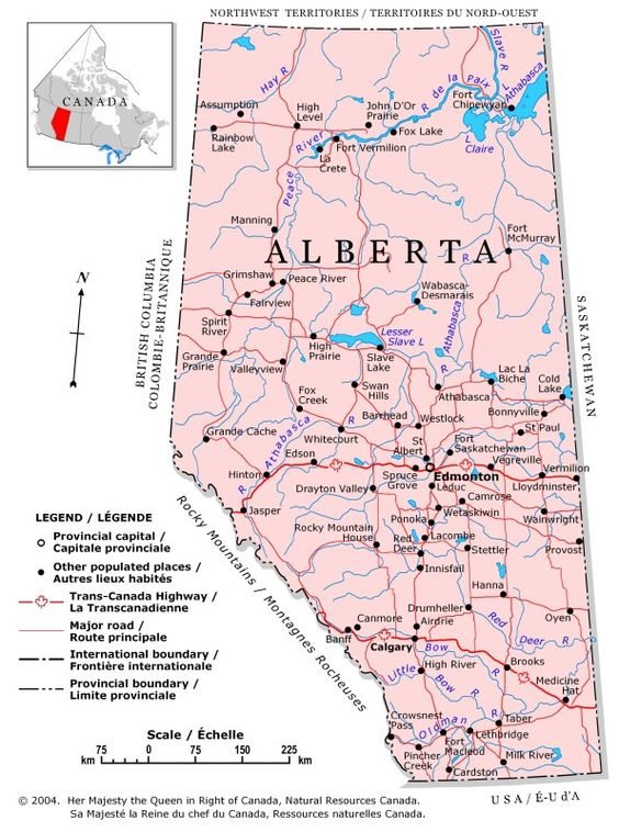 Alberta A political map of Alberta showing boundaries the – Map Showing Canada