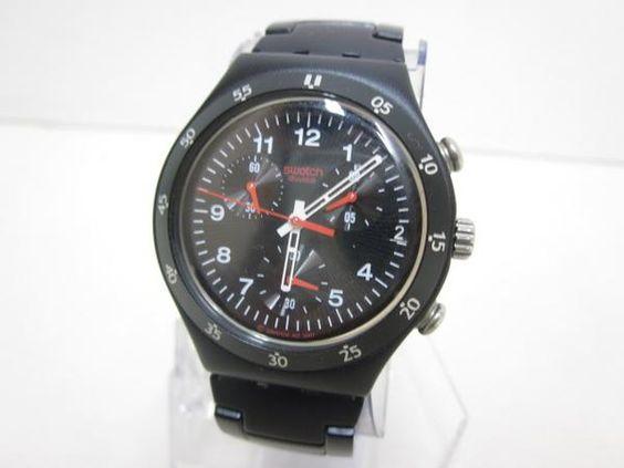 【8】SWATCHスウォッチIRONYブラッククロノグラフ腕時計/1400円 〆02月10日