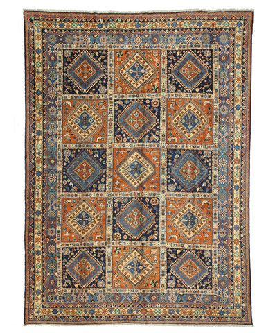 HAND KNOTTED WOOL PANEL YALAMEH RUG (10'3 X 14')