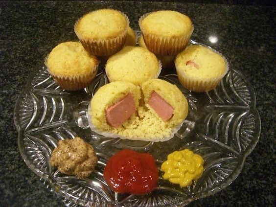 corndog muffins. can use vienna sauage, cut up hotdogs or mini sausage links (great for kid's lunch for football games)