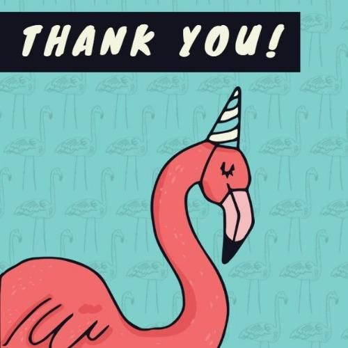 A Pretty Thank You Card Template With A Flamingo Illustration And A Light Blue Background Flamingo Illustration Thank You Card Template Light Blue Background