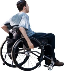 Man In Wheelchair Moving Along People Cutout People Png Render People