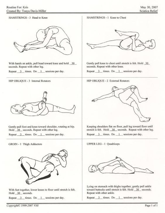 Sciatic Nerve Stretches.  Some of these are ones my doctor recommended. …