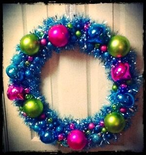 Large Teal Tinsel Wreath with Bright Pink Green and by FinnzUp, $35.00