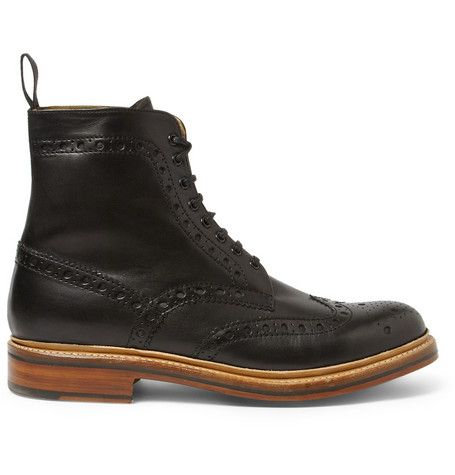 How awesome would these Grenson Fred Leather Brogue Boots look with a groom's grey suit? #groom #style