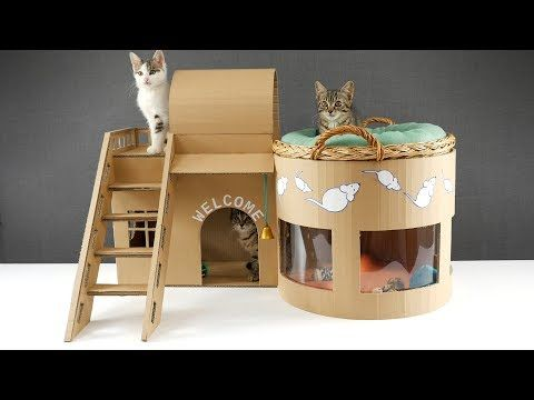 How To Make An Adorable Kitten Play House With Cardboard Cat House Diy Cardboard Cat House Dog House Diy