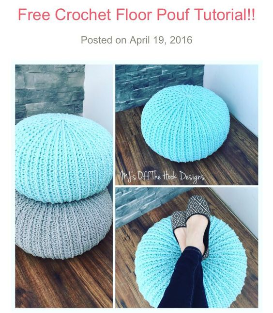 Free pouf pattern perfect home decor http www for Floor knitting