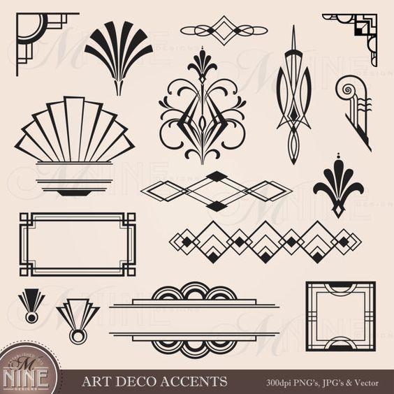 Éléments de Design numérique Clipart ART déco par MNINEDESIGNS