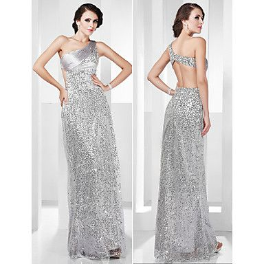 TS Couture Formal Evening / Military Ball Dress - Silver Plus Sizes / Petite Sheath/Column One Shoulder Floor-length Stretch Satin / Sequined – USD $ 119.99