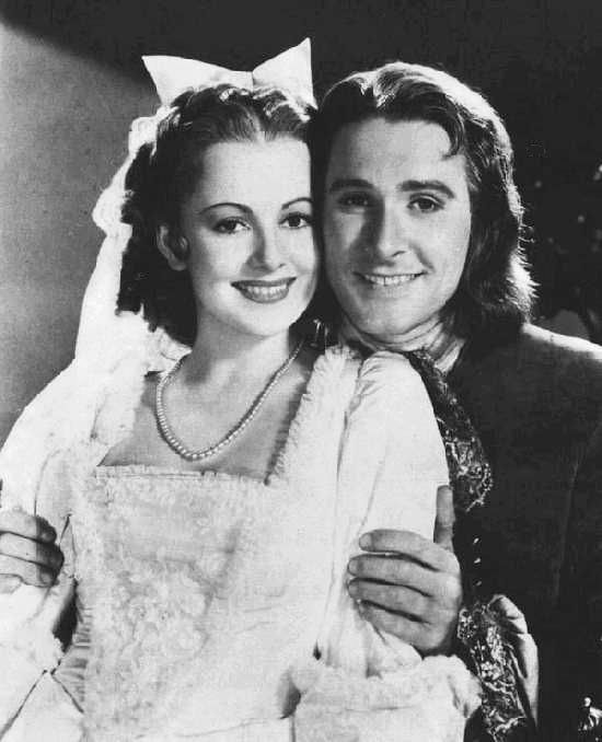 Errol Flynn and Olivia de Havilland - Capt. Peter Blood and Arabella Bishop in Captain Blood (1935)