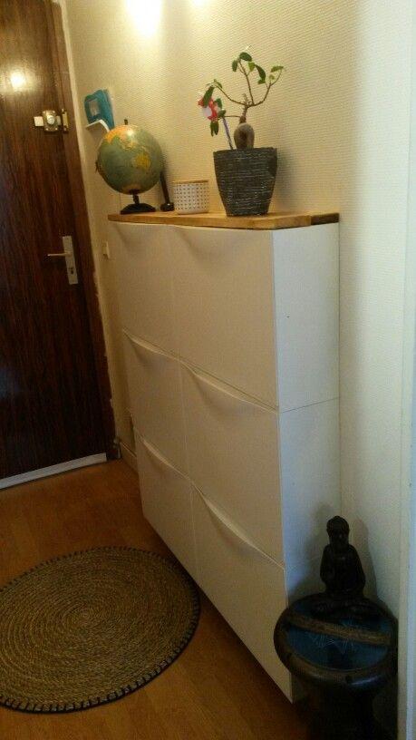 Meuble d 39 entr e rangement chaussures ikea planches for Ikea meuble chaussure mural