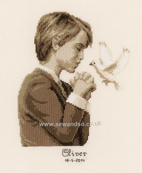 Buy Confirmation Boy Cross Stitch Kit Online at www.sewandso.co.uk