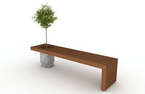 banco en madera de exterior y maceta de cinc esta pensado