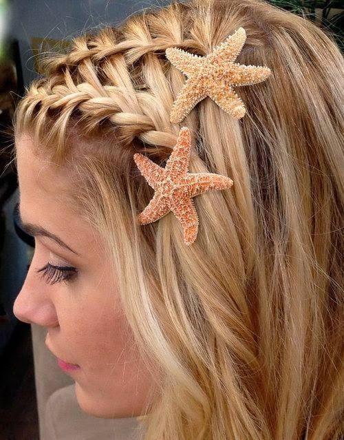 Like the idea of braids to be used to pull the hair out of my face, but with a flower instead of startfish.