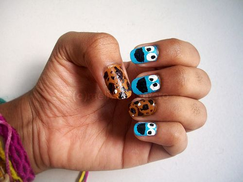 Cookie Monster Nails.  Seems easy enough and super cute.