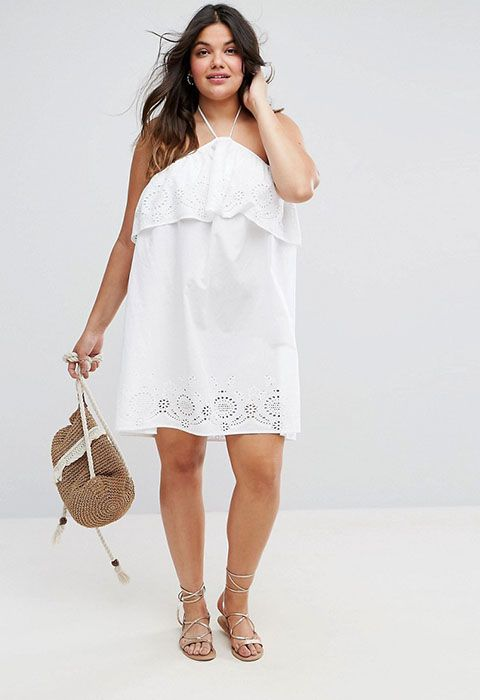 ASOS CURVE Beach Broidery Halter Sundress