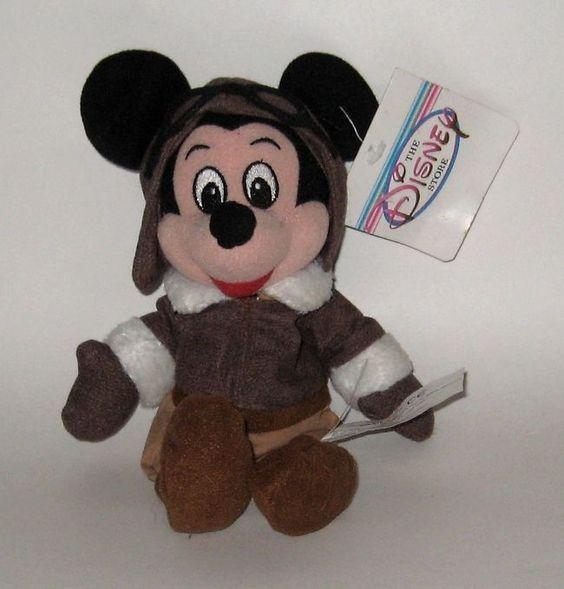 Retired Disney Store Plush NWT Mickey Mouse Aviator Pilot Bomber Jacket Goggles+ #DisneyStore