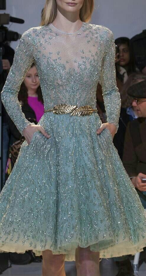 Heavily embroidered Zuhair Murad Haute Couture * Spring 2014 - nice ombre blue-to-cream hemline and leaf-shaped belt