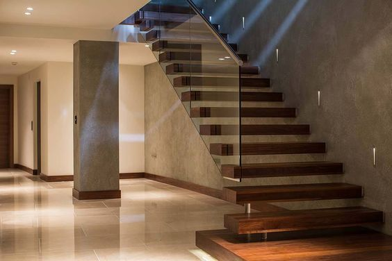The New Trendy Suspended Style Of Straight Stairs Provides An   Glass Banister Near Me   Floating Staircase   Interior Railings   Interior Stairs   Spiral Staircase   Frameless Glass